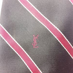 Yves Saint Laurent Silk Neck Tie Black Red Striped